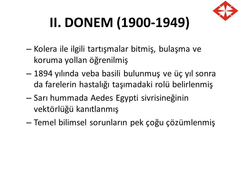 II. DONEM (1900-1949) Kolera ile ilgili tartışmalar bitmiş, bulaşma ve koruma yollan öğrenilmiş.