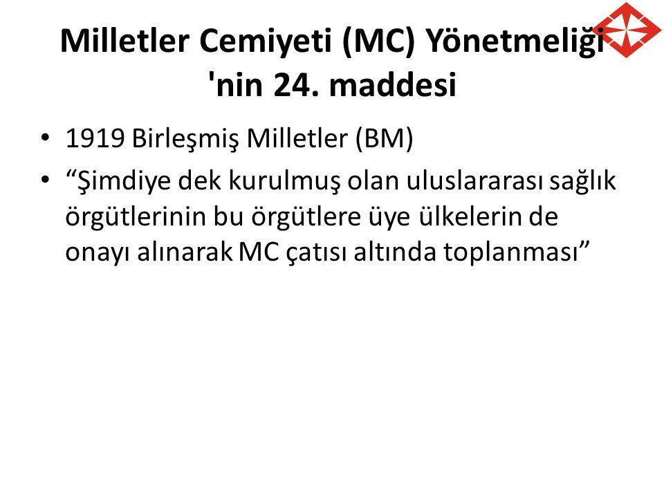 Milletler Cemiyeti (MC) Yönetmeliği nin 24. maddesi