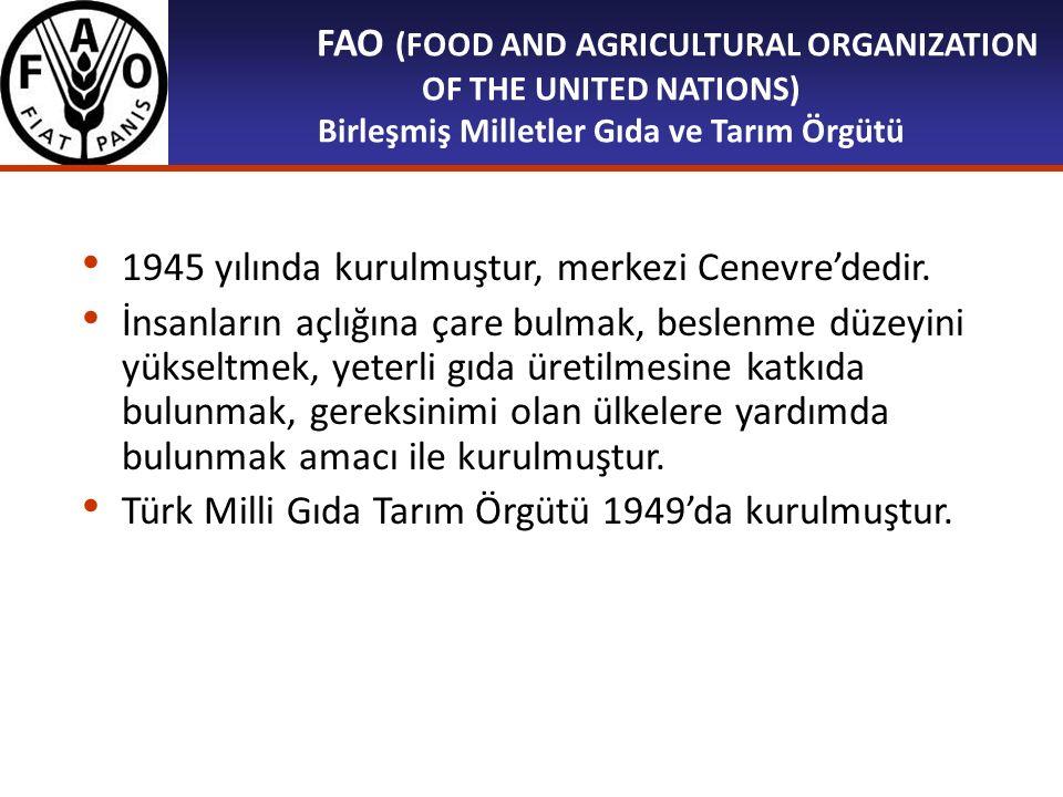 FAO (FOOD AND AGRICULTURAL ORGANIZATION OF THE UNITED NATIONS) Birleşmiş Milletler Gıda ve Tarım Örgütü