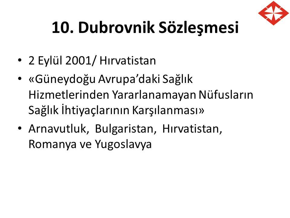 10. Dubrovnik Sözleşmesi 2 Eylül 2001/ Hırvatistan