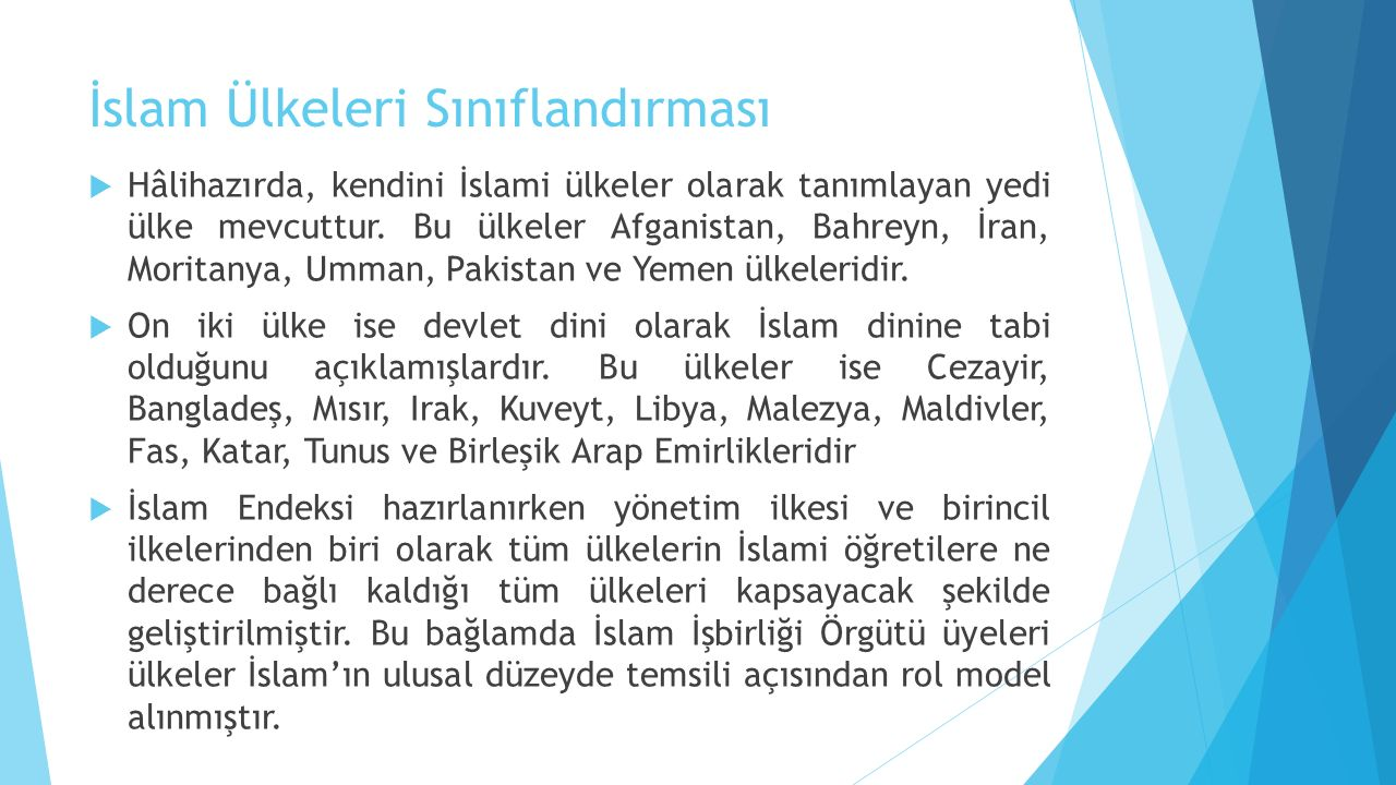 İslam Ülkeleri Sınıflandırması
