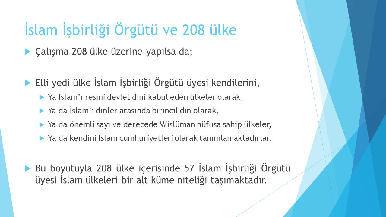 İslam İşbirliği Örgütü ve 208 ülke