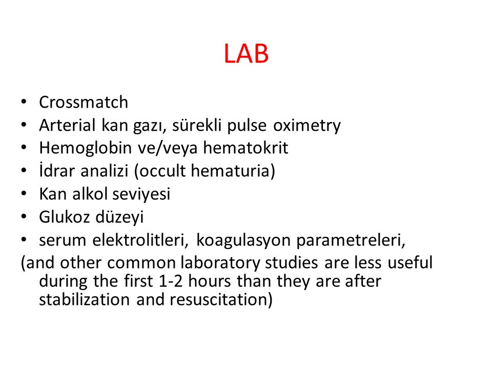 LAB Crossmatch Arterial kan gazı, sürekli pulse oximetry