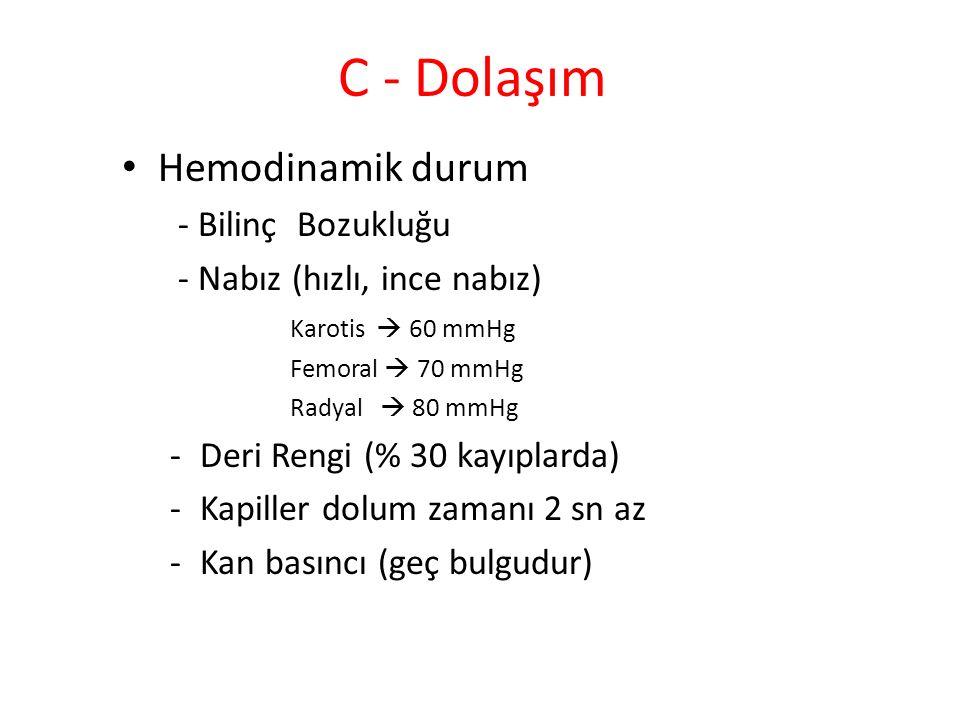 C - Dolaşım Hemodinamik durum - Bilinç Bozukluğu