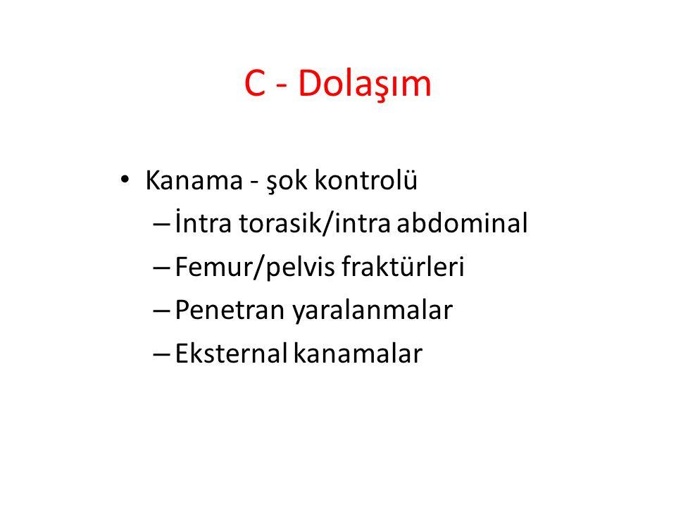 C - Dolaşım Kanama - şok kontrolü İntra torasik/intra abdominal