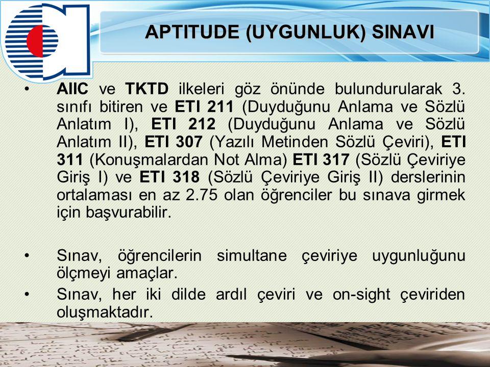 APTITUDE (UYGUNLUK) SINAVI