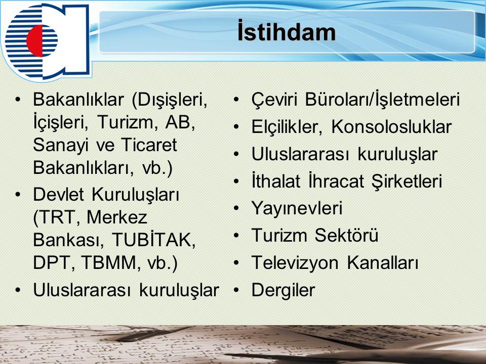 İstihdam Bakanlıklar (Dışişleri, İçişleri, Turizm, AB, Sanayi ve Ticaret Bakanlıkları, vb.)
