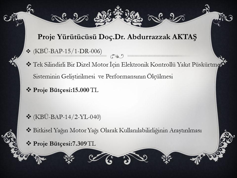 Proje Yürütücüsü Doç.Dr. Abdurrazzak AKTAŞ