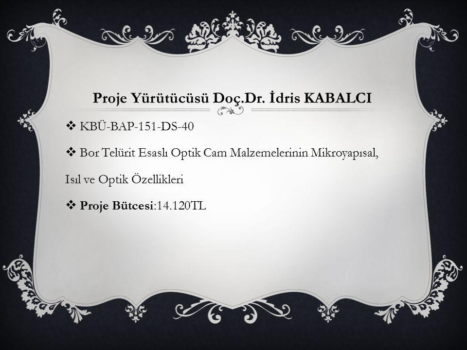 Proje Yürütücüsü Doç.Dr. İdris KABALCI