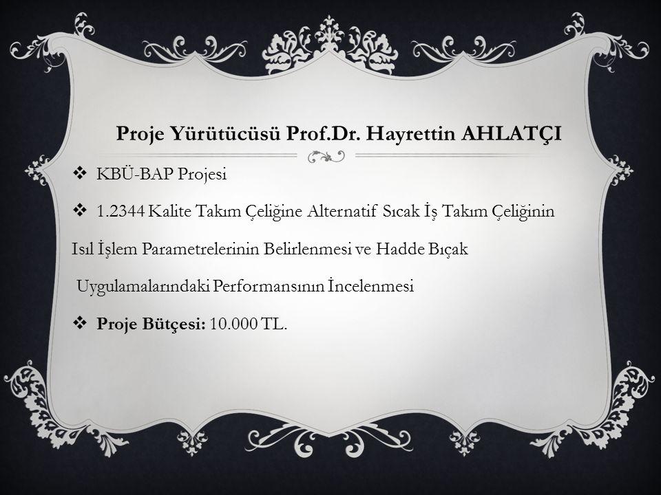 Proje Yürütücüsü Prof.Dr. Hayrettin AHLATÇI