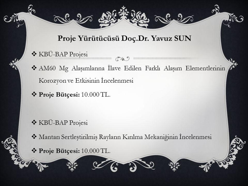 Proje Yürütücüsü Doç.Dr. Yavuz SUN