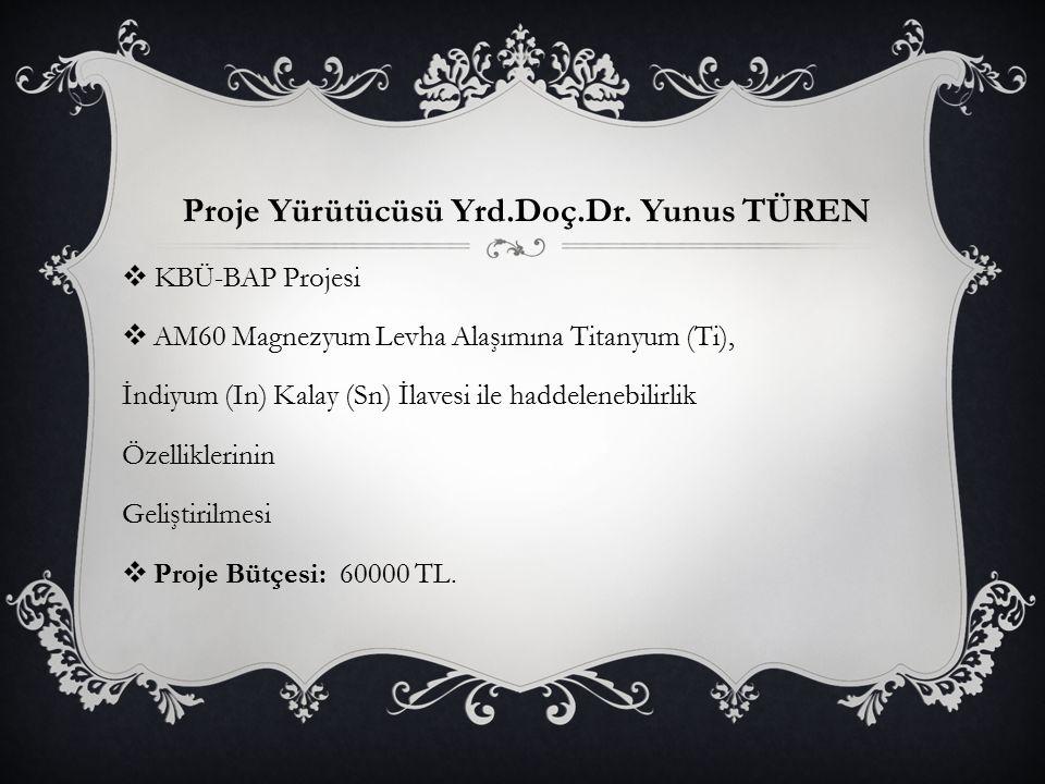 Proje Yürütücüsü Yrd.Doç.Dr. Yunus TÜREN
