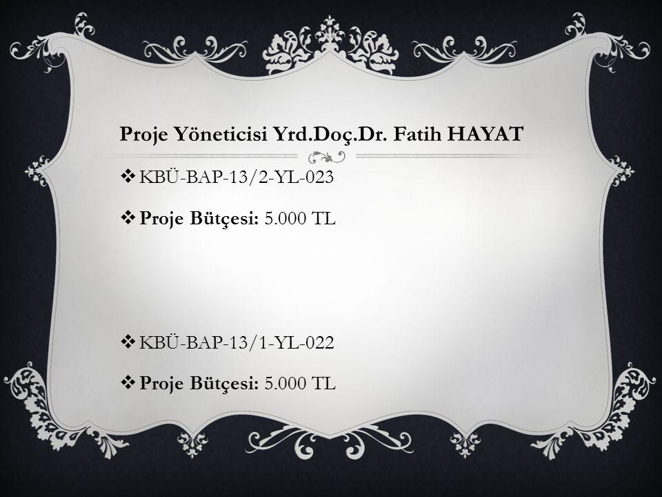 Proje Yöneticisi Yrd.Doç.Dr. Fatih HAYAT