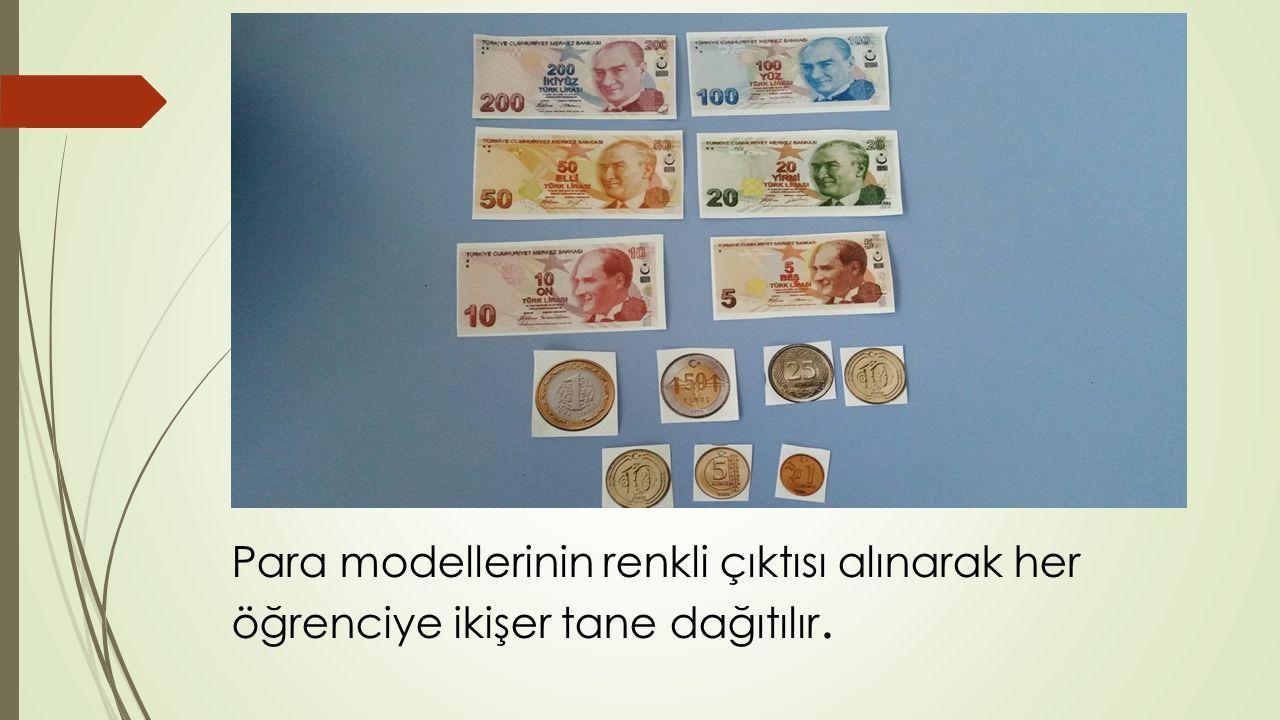 Para modellerinin renkli çıktısı alınarak her öğrenciye ikişer tane dağıtılır.