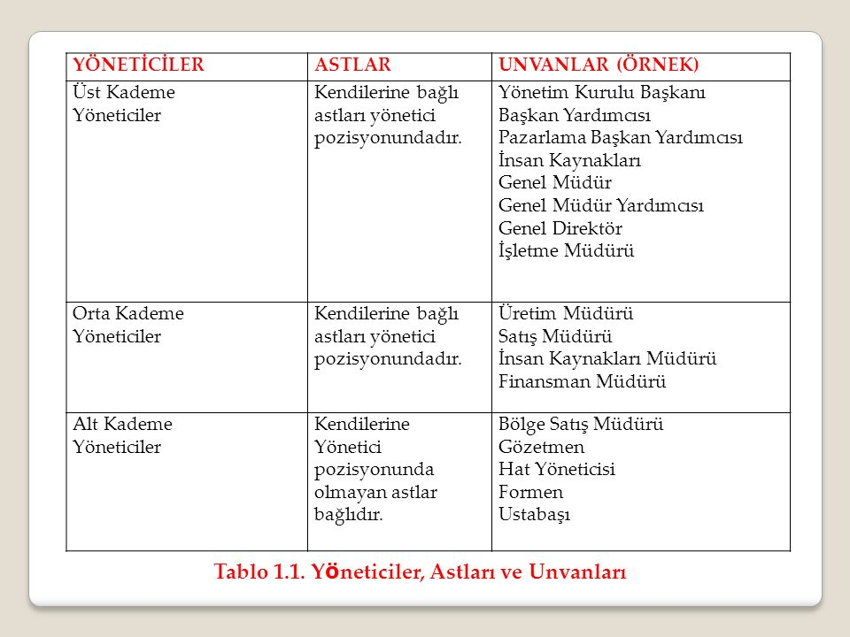 Tablo 1.1. Yöneticiler, Astları ve Unvanları