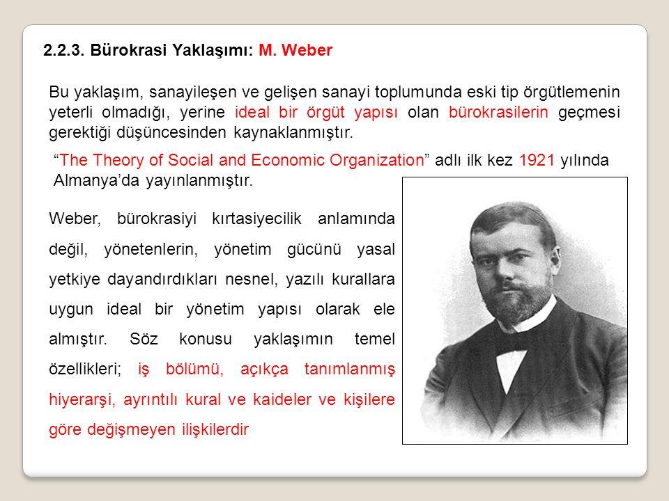2.2.3. Bürokrasi Yaklaşımı: M. Weber