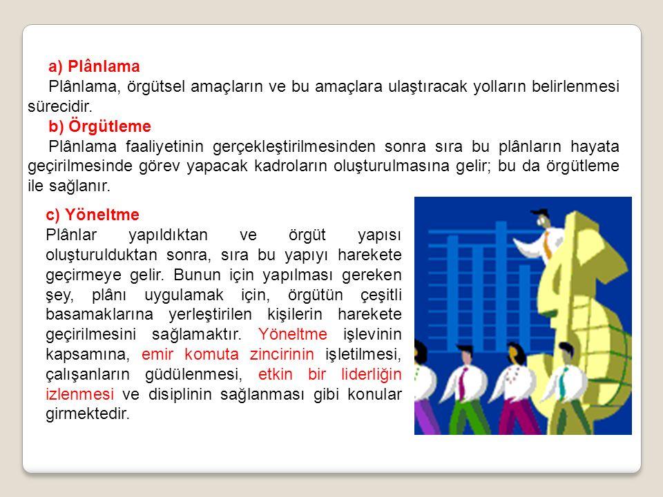a) Plânlama Plânlama, örgütsel amaçların ve bu amaçlara ulaştıracak yolların belirlenmesi sürecidir.
