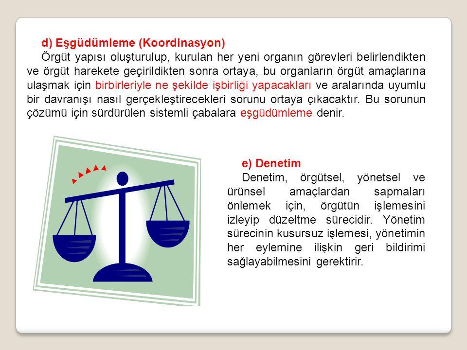 d) Eşgüdümleme (Koordinasyon)
