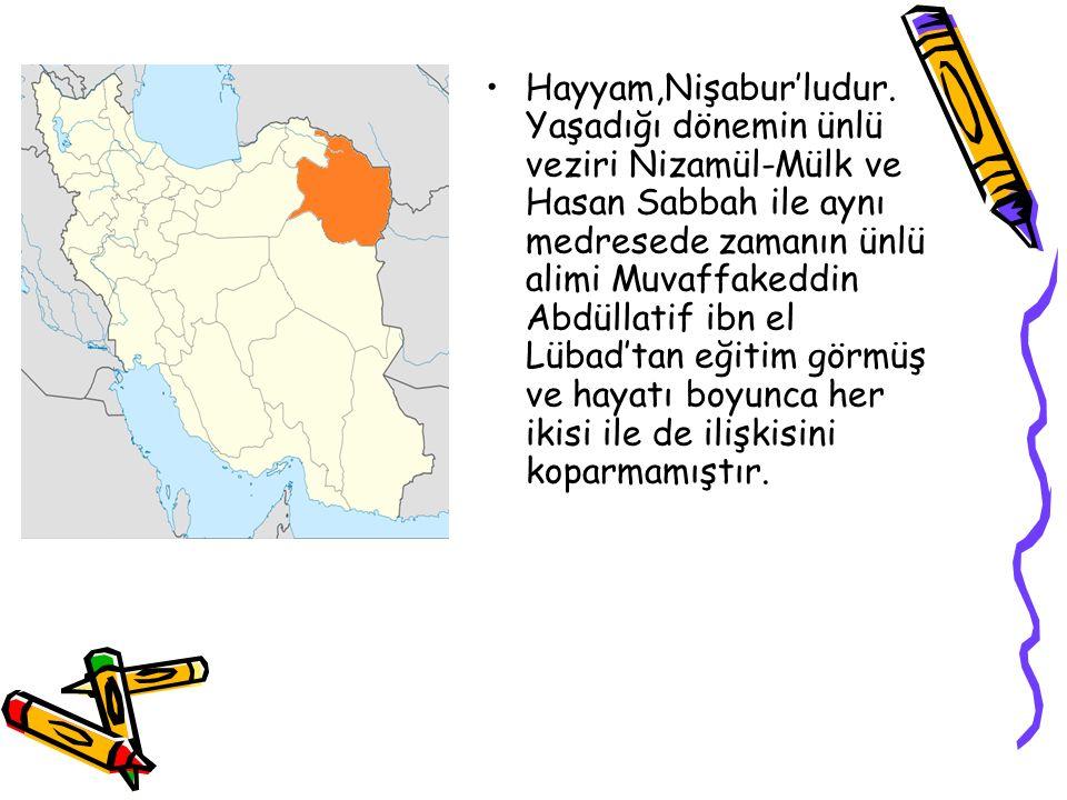 Hayyam,Nişabur'ludur.