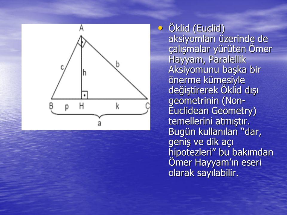 Öklid (Euclid) aksiyomları üzerinde de çalışmalar yürüten Ömer Hayyam, Paralellik Aksiyomunu başka bir önerme kümesiyle değiştirerek Öklid dışı geometrinin (Non-Euclidean Geometry) temellerini atmıştır.