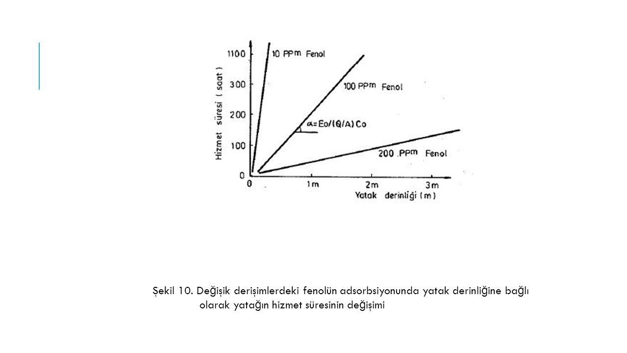 Şekil 10. Değişik derişimlerdeki fenolün adsorbsiyonunda yatak derinliğine bağlı