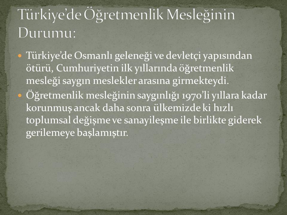 Türkiye'de Öğretmenlik Mesleğinin Durumu: