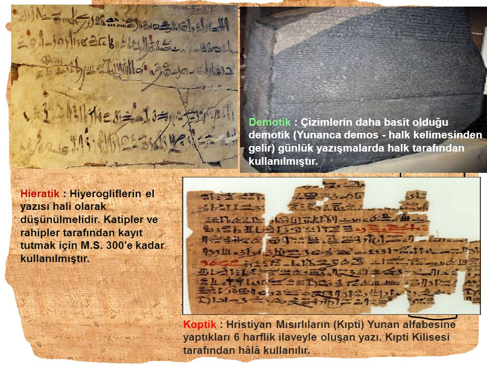 Demotik : Çizimlerin daha basit olduğu demotik (Yunanca demos - halk kelimesinden gelir) günlük yazışmalarda halk tarafından kullanılmıştır.