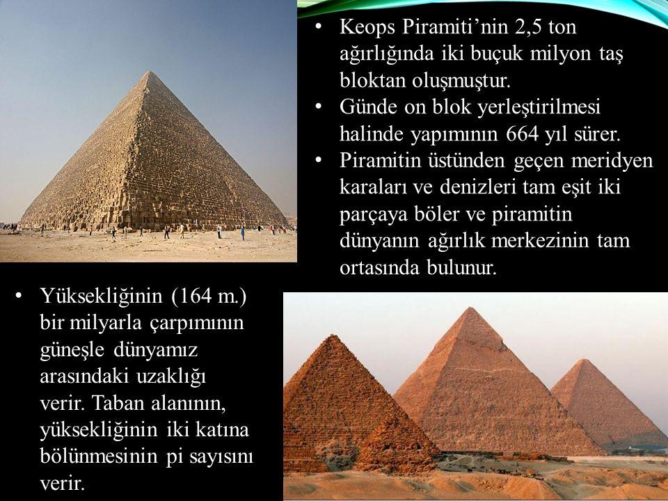 Keops Piramiti'nin 2,5 ton ağırlığında iki buçuk milyon taş bloktan oluşmuştur.