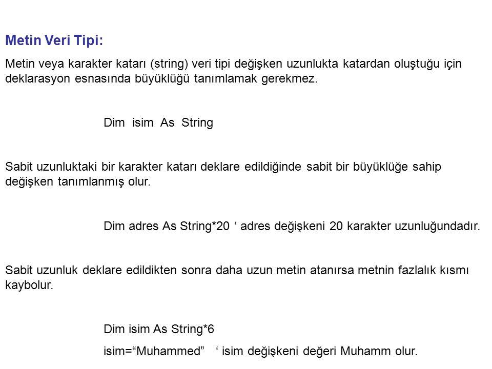 Metin Veri Tipi: