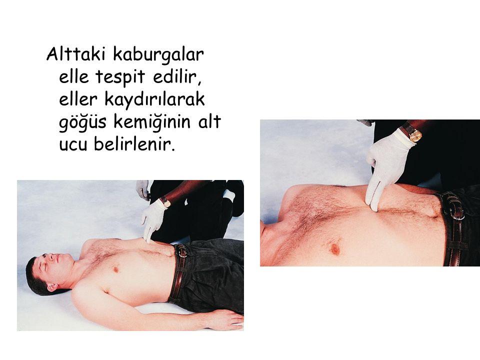 Alttaki kaburgalar elle tespit edilir, eller kaydırılarak göğüs kemiğinin alt ucu belirlenir.