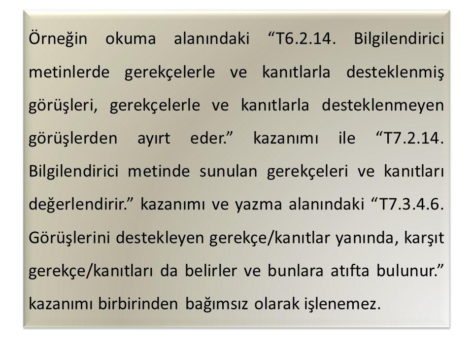 Örneğin okuma alanındaki T6. 2. 14