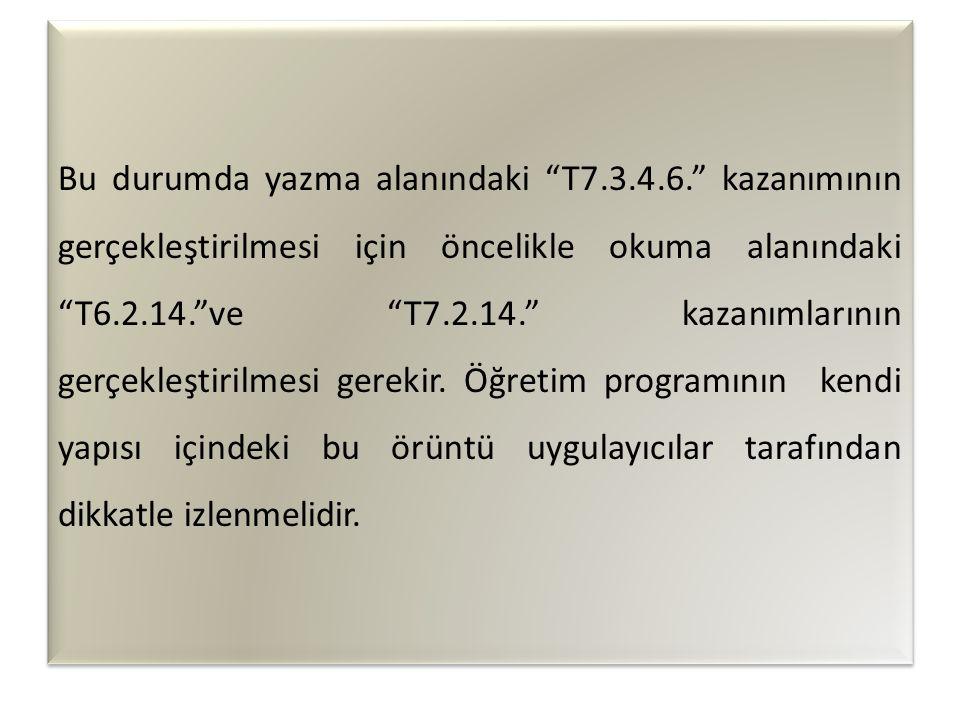 Bu durumda yazma alanındaki T7. 3. 4. 6
