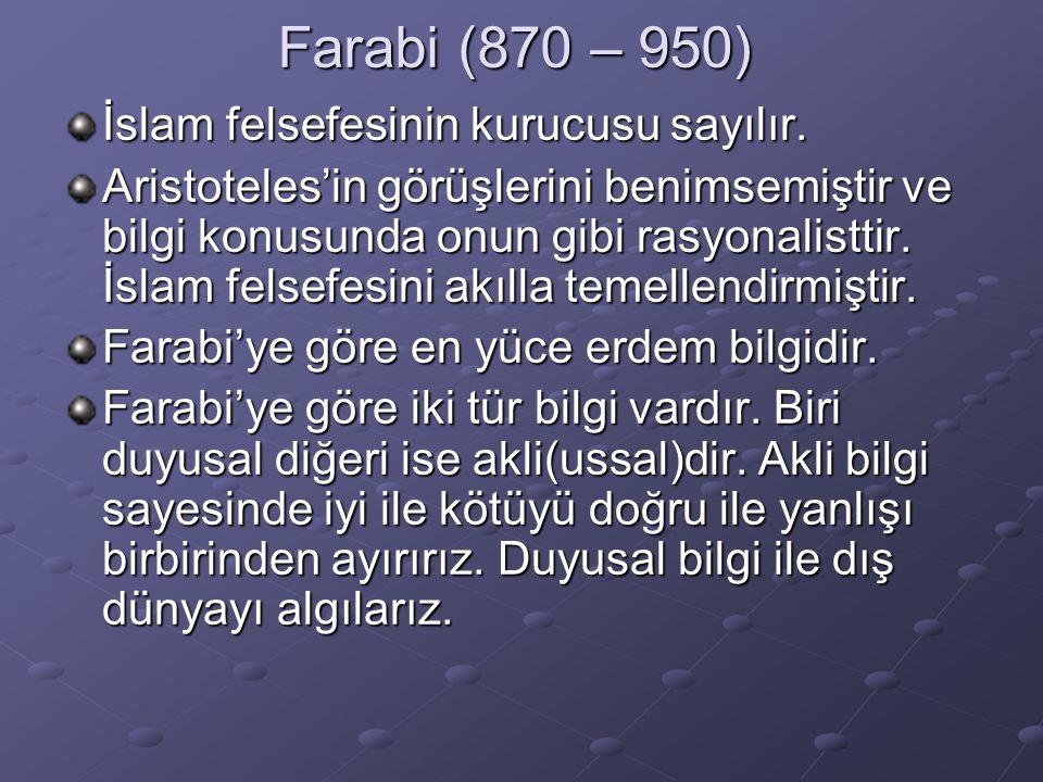 Farabi (870 – 950) İslam felsefesinin kurucusu sayılır.