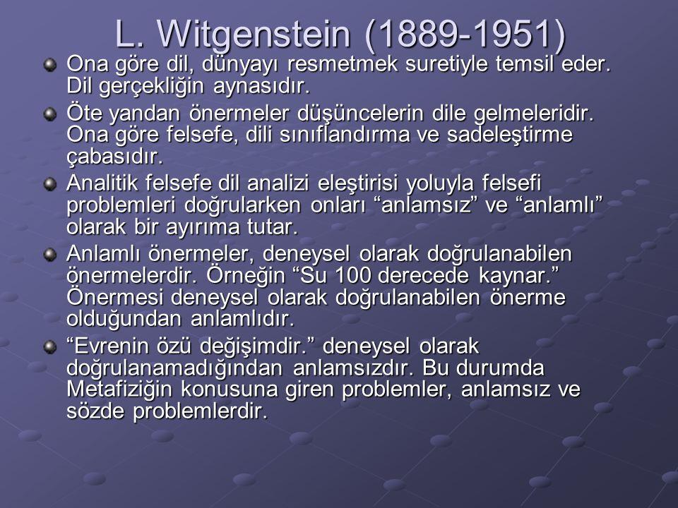 L. Witgenstein (1889-1951) Ona göre dil, dünyayı resmetmek suretiyle temsil eder. Dil gerçekliğin aynasıdır.