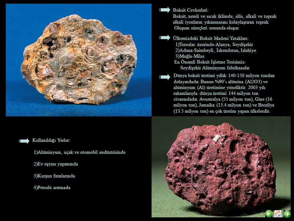 Boksit Cevherleri: Boksit, nemli ve sıcak iklimde, silis, alkali ve toprak alkali iyonların yıkanmasını kolaylaştıran toprak.