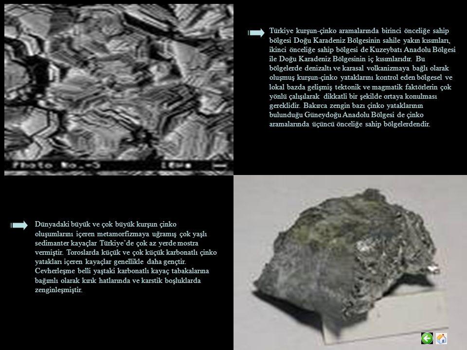 Türkiye kurşun-çinko aramalarında birinci önceliğe sahip bölgesi Doğu Karadeniz Bölgesinin sahile yakın kısımları, ikinci önceliğe sahip bölgesi de Kuzeybatı Anadolu Bölgesi ile Doğu Karadeniz Bölgesinin iç kısımlarıdır. Bu bölgelerde denizaltı ve karasal volkanizmaya bağlı olarak oluşmuş kurşun-çinko yataklarını kontrol eden bölgesel ve lokal bazda gelişmiş tektonik ve magmatik faktörlerin çok yönlü çalışılarak dikkatli bir şekilde ortaya konulması gereklidir. Bakırca zengin bazı çinko yataklarının bulunduğu Güneydoğu Anadolu Bölgesi de çinko aramalarında üçüncü önceliğe sahip bölgelerdendir.