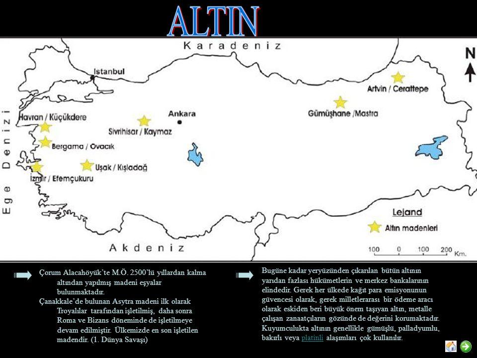ALTIN Çorum Alacahöyük'te M.Ö. 2500'lü yıllardan kalma altından yapılmış madeni eşyalar bulunmaktadır.