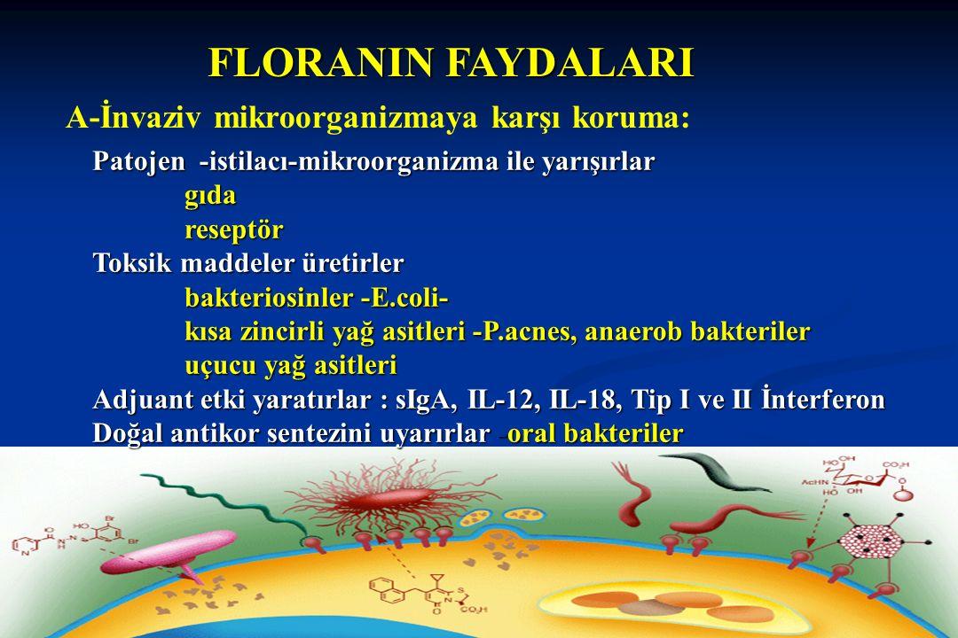 FLORANIN FAYDALARI A-İnvaziv mikroorganizmaya karşı koruma: