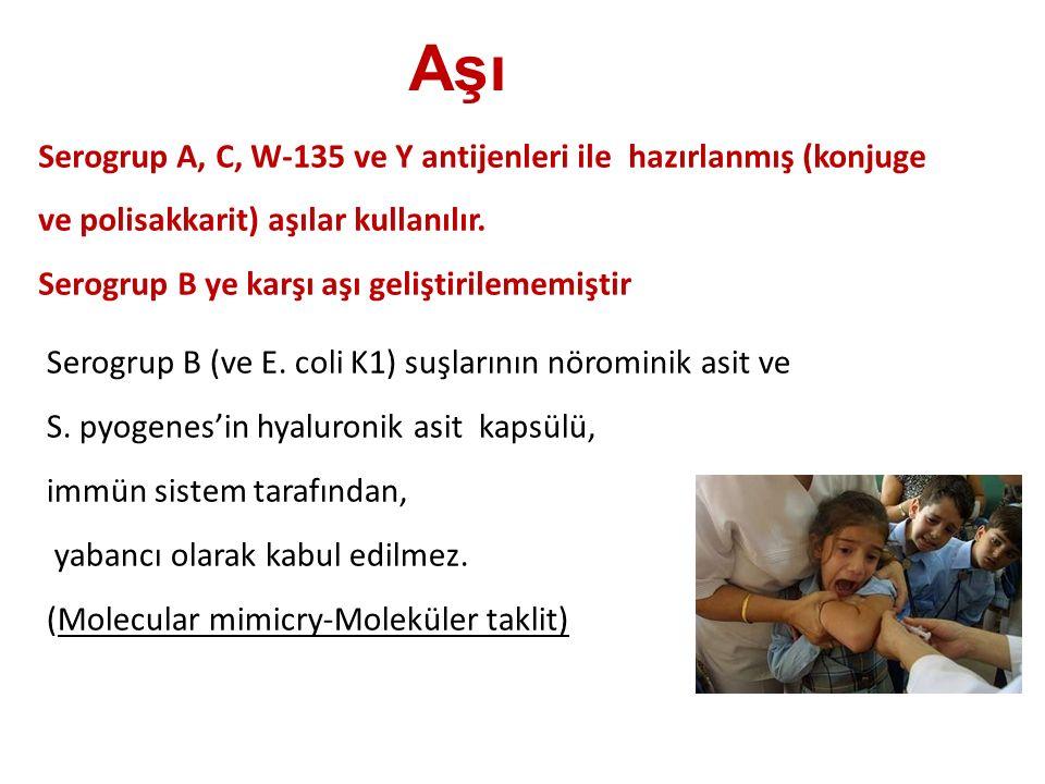 Aşı Serogrup A, C, W-135 ve Y antijenleri ile hazırlanmış (konjuge ve polisakkarit) aşılar kullanılır.