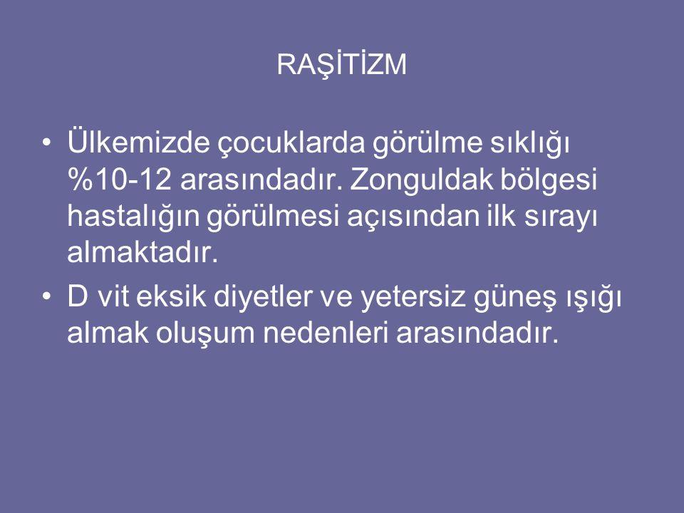 RAŞİTİZM Ülkemizde çocuklarda görülme sıklığı %10-12 arasındadır. Zonguldak bölgesi hastalığın görülmesi açısından ilk sırayı almaktadır.