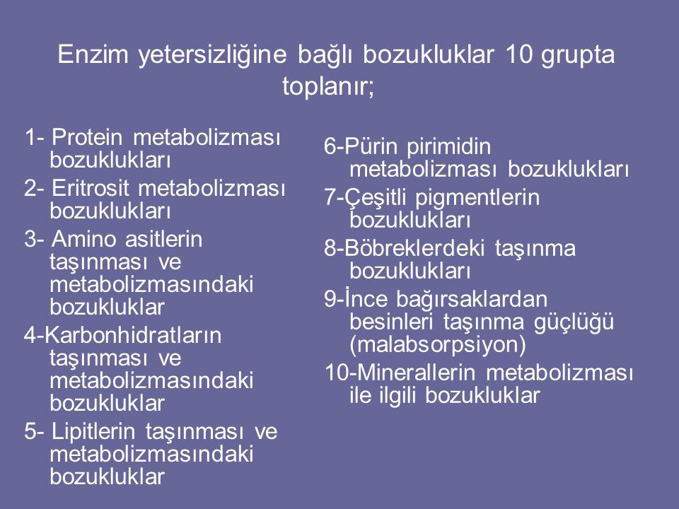 Enzim yetersizliğine bağlı bozukluklar 10 grupta toplanır;