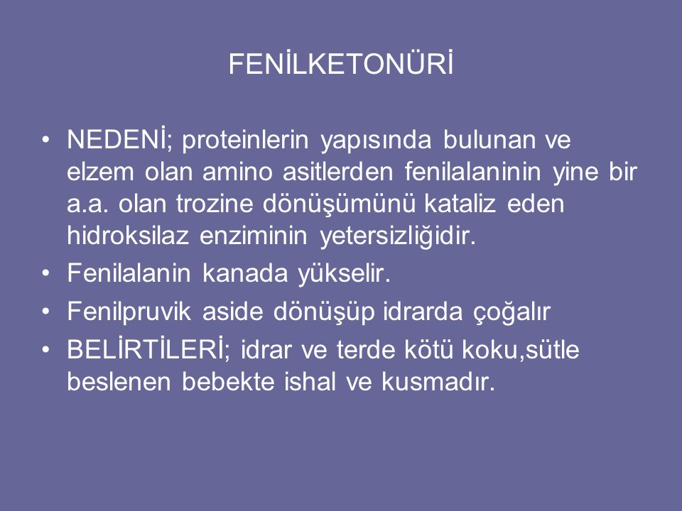 FENİLKETONÜRİ
