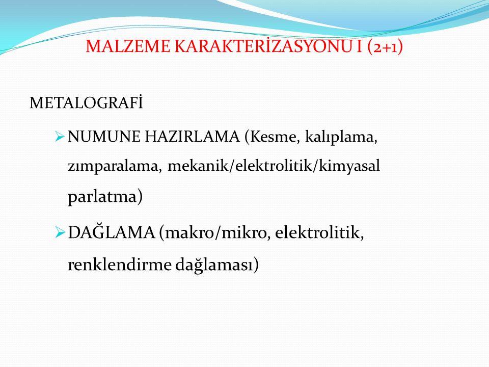 MALZEME KARAKTERİZASYONU I (2+1)