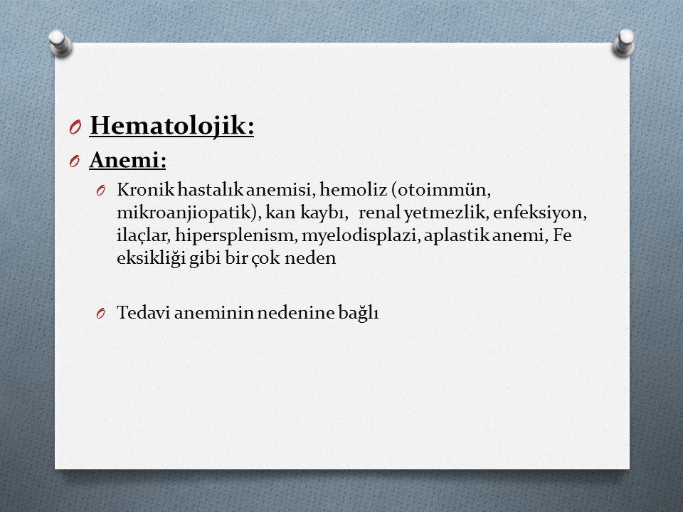 Hematolojik: Anemi: