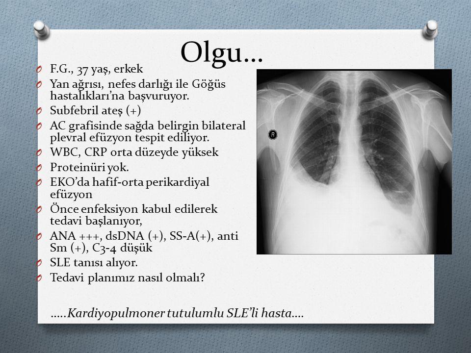 Olgu… …..Kardiyopulmoner tutulumlu SLE'li hasta…. F.G., 37 yaş, erkek