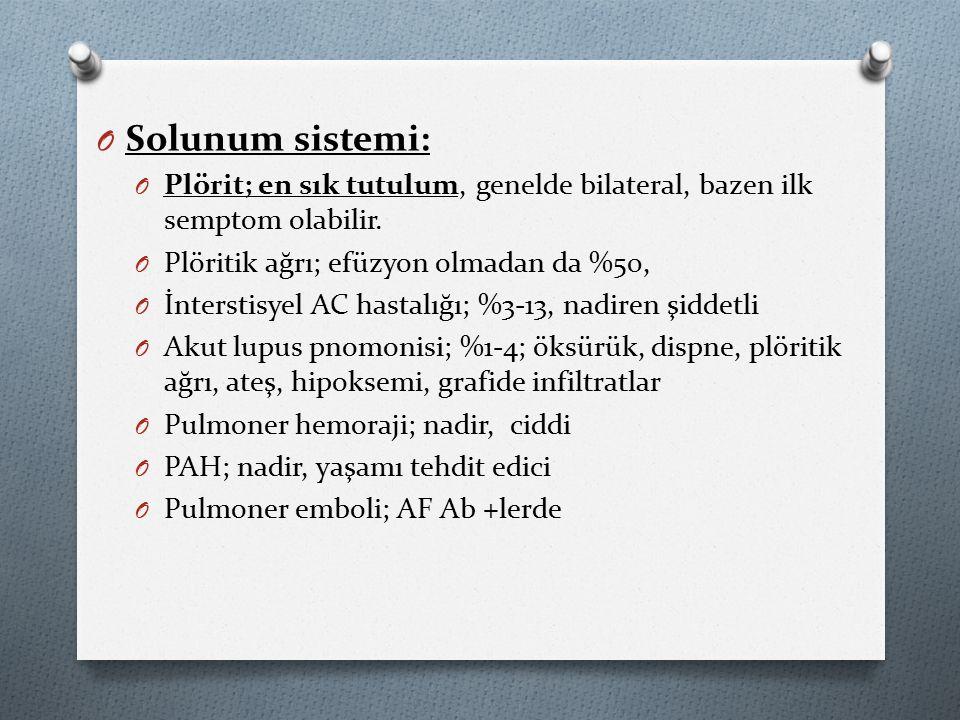 Solunum sistemi: Plörit; en sık tutulum, genelde bilateral, bazen ilk semptom olabilir. Plöritik ağrı; efüzyon olmadan da %50,