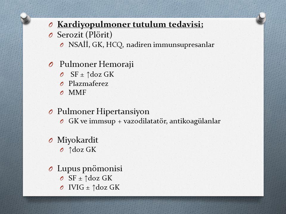Pulmoner Hemoraji Kardiyopulmoner tutulum tedavisi; Serozit (Plörit)