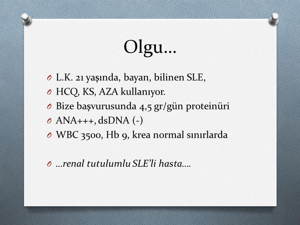 Olgu… L.K. 21 yaşında, bayan, bilinen SLE, HCQ, KS, AZA kullanıyor.