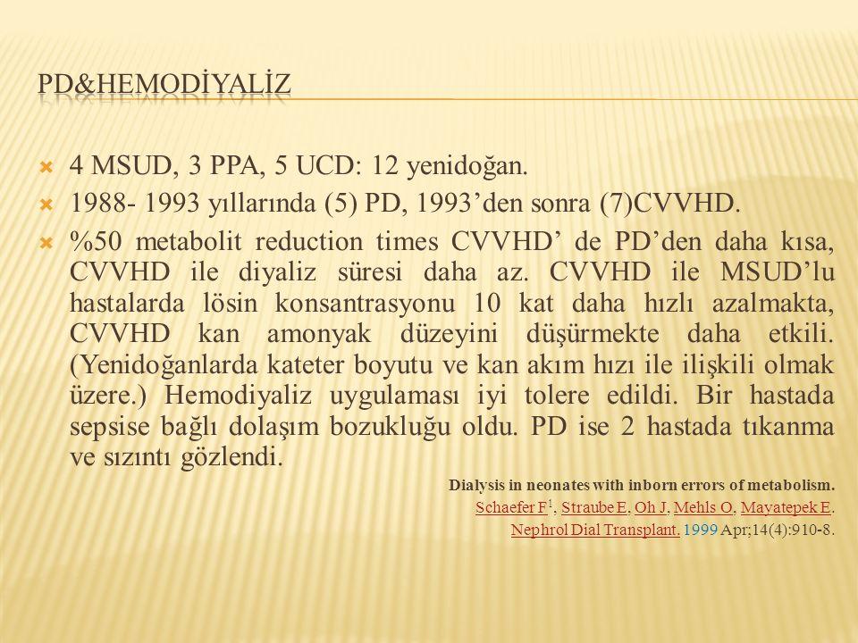 4 MSUD, 3 PPA, 5 UCD: 12 yenidoğan.