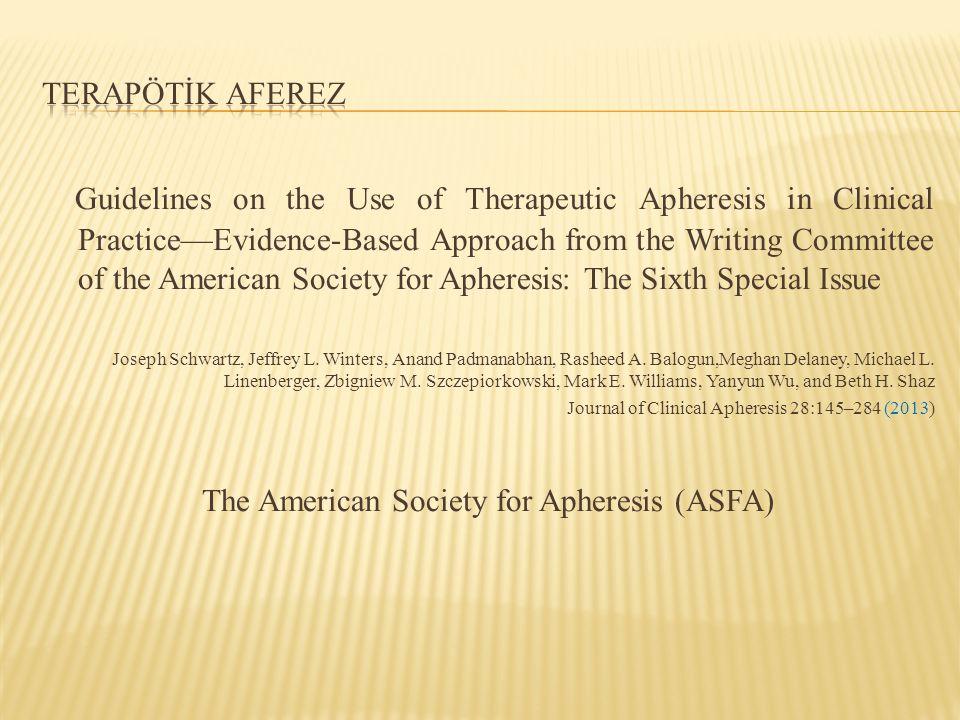 The American Society for Apheresis (ASFA)